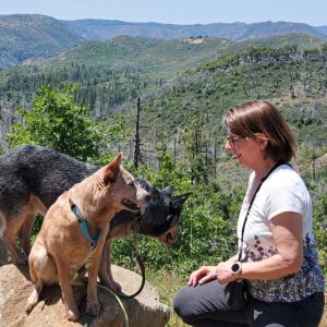 Amy with her dogs near Tosemite